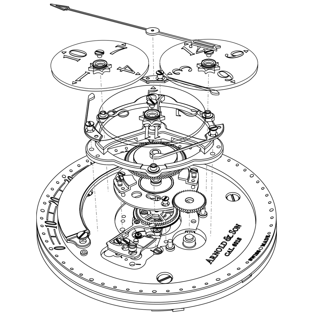 Arnold & Son Golden Wheel 2016 exploded view