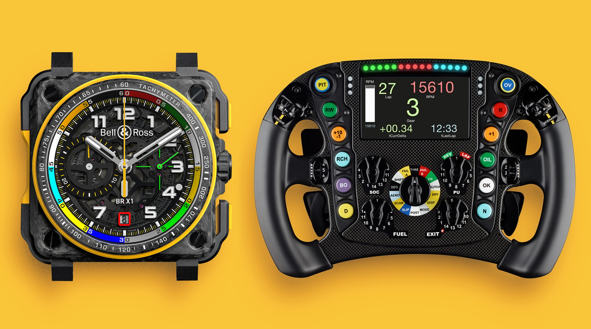Bell & Ross BR-X1 RS17 vs Renault F1 steering wheel