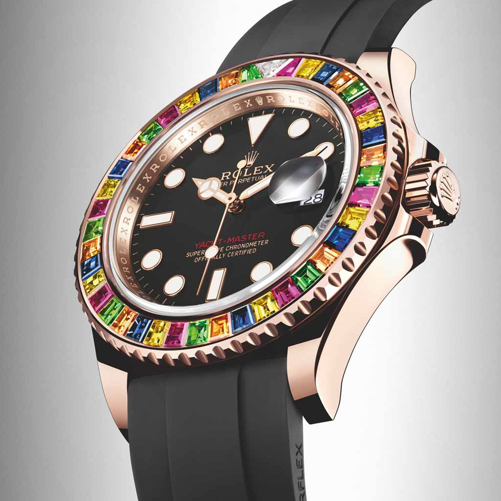 d221bb1eb6a The Rolex Yacht-Master 40 with Gem-Set Bezel might be the perfect watch for  a 1980s disco party