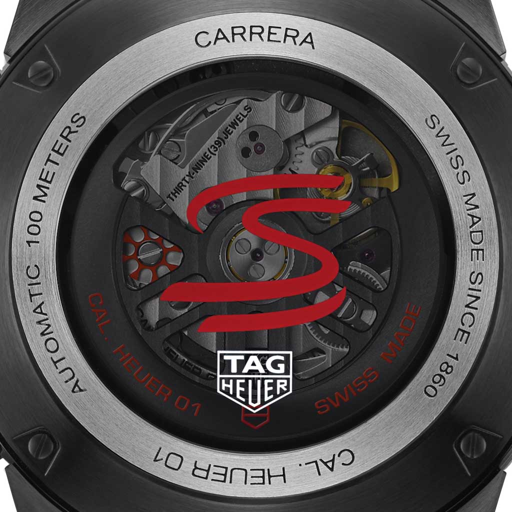 681d82b3f5c The TAG Heuer Carrera Heuer 01 Ayrton Senna Limited Edition features some  of Senna's symbols