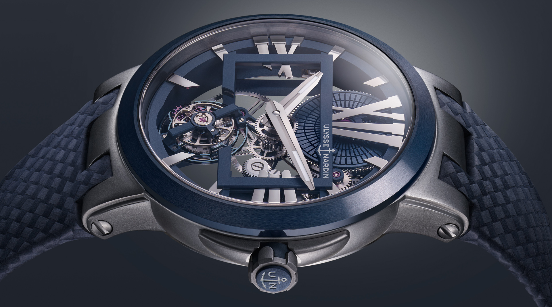 Ulysse Nardin Executive Skeleton Tourbillon Blue 1713-139/43 side