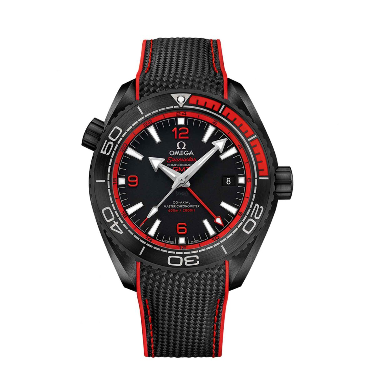 Omega Seamaster Planet Ocean 600M Co-axial Master Chronometer GMT Deep Black in Red 215.92.46.22.01.003