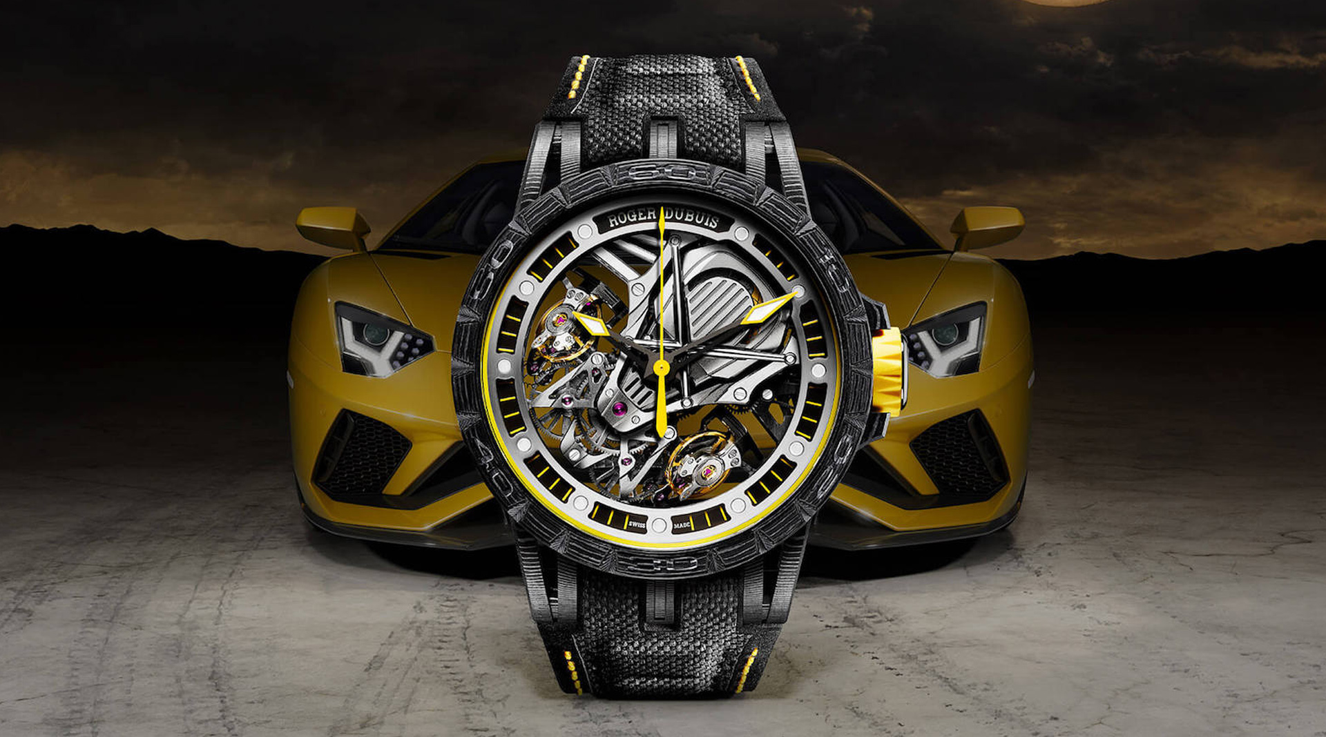Roger Dubuis Excalibur Aventador S with the car